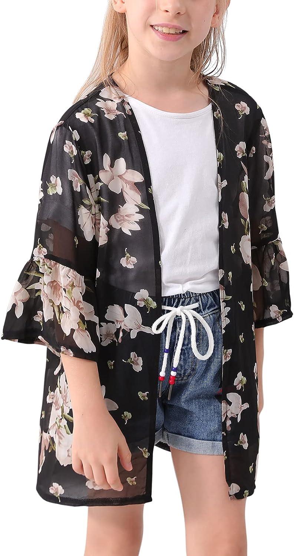 GORLYA Girl's Floral Print Chiffon Beach Cardigan Cover ups Kids Casual Kimono Capes Swimsuit Wraps