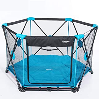 Baby Playpen With Mat Fold Portable Outdoor Play Yard Removable Waterproof Breathable Safety Fence For Girls Boys Beach Park Travel Camping
