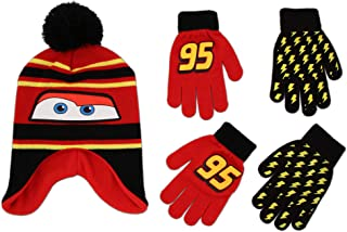 Disney Cars Lightning McQueen Winter Hat and 2 Pair Mittens or Gloves (Age 2-7)