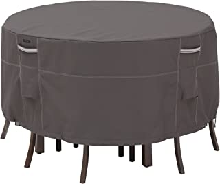 Classic Accessories Ravenna Water-Resistant 60 Inch Tall Round Patio Table & Chair Set Cover