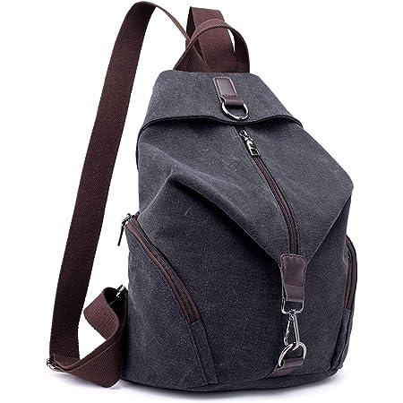 EVEOUT Vintage Unisex Casual Canvas College Schulter Rucksack, Frauen und Herren Laptop Rucksack für die Arbeit Schule Reisen, Wandern Camping Daypacks