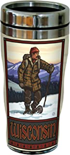 Tree-Free Greetings sg23277 Vintage Wisconsin Snow Shoeing by Paul A. Lanquist Stainless Steel Sip 'N Go Travel Tumbler, 1...