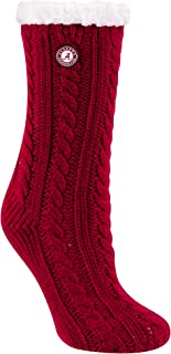 TCK Brands Miss Chalet University Sherpa Lined Cable Knit Cozy Slipper Sock
