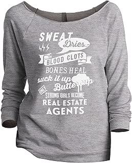Strong Girls Real Estate Agents Women's Slouchy 3/4 Sleeves Raglan Sweatshirt Sport Grey