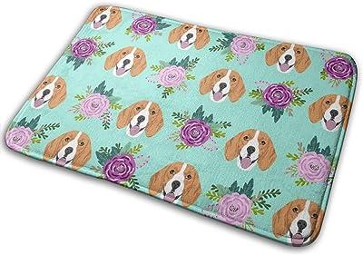 "Beagle Florals Purple and Mint Design Cute Florals and Dog Design - Mint_25420 Doormat Entrance Mat Floor Mat Rug Indoor/Outdoor/Front Door/Bathroom Mats Rubber Non Slip 23.6"" X 15.8"""