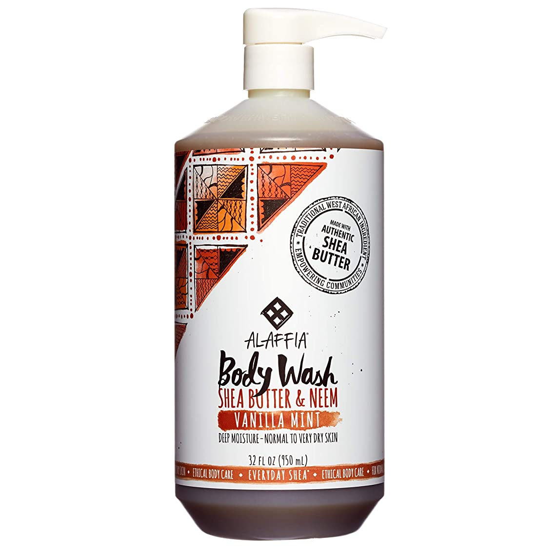 Alaffia - Everyday Shea Body Wash, Naturally Helps Moisturize and Cleanse without Stripping Natural Oils with Shea Butter, Neem, and Coconut Oil, Fair Trade, Vanilla Mint, 32 Ounces (FFP)