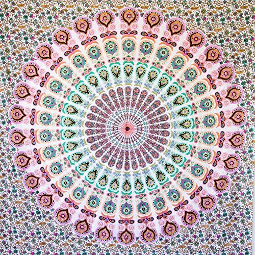 MOMOMUS Arazzo Mandala - 100% Cotone, Grande, Multiuso - Telo Arredo Copridivano/Copritutto - Copriletto Matrimoniale - Plaid/Gran Foulard per Divano, 210x230cm Rosa