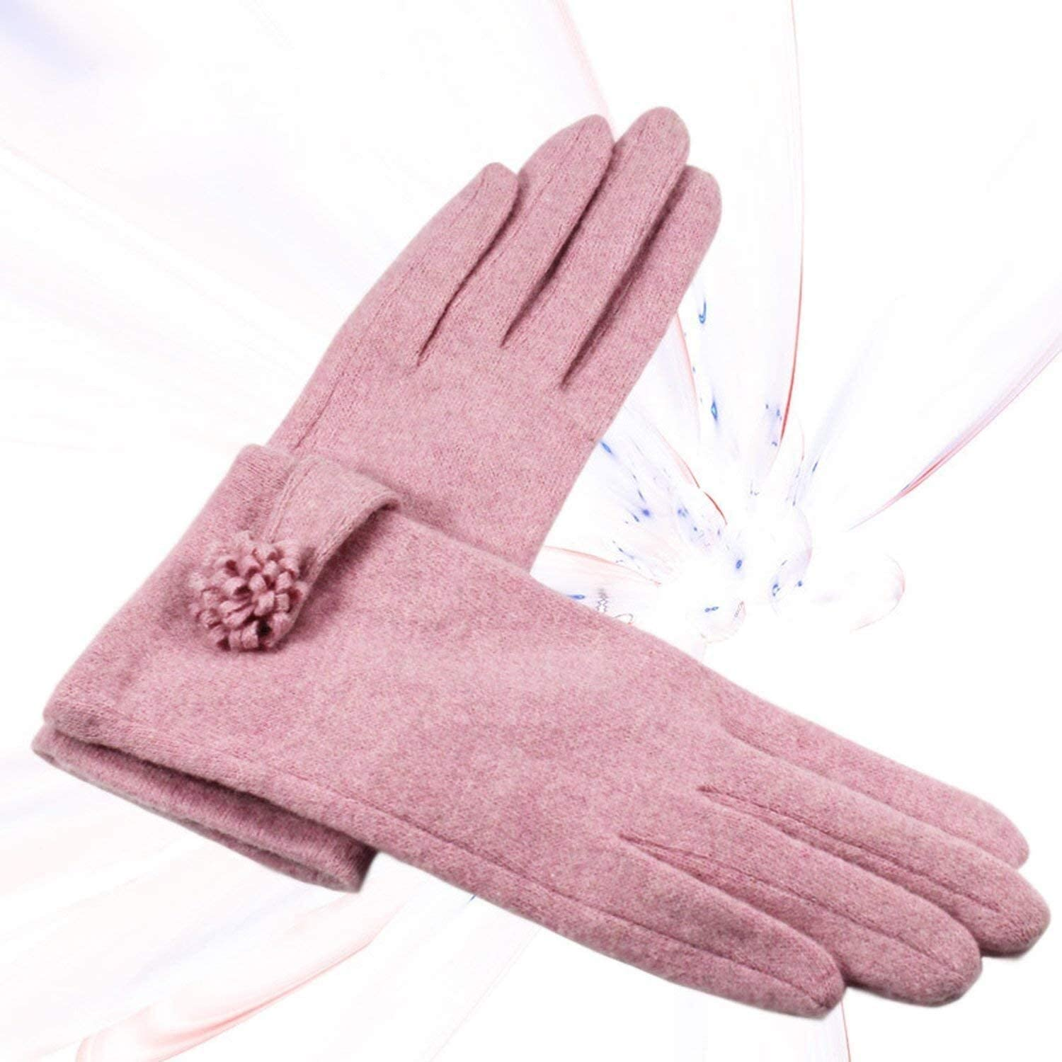 Samantha Warm Gloves Elegant Female Wool Knit Touch Screen Gloves Winter Women Keep Warm Cashmere Full Finger Leather Bow Dotted Gloves (Color : B Gray, Size : Oneszie)