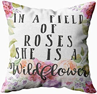 Shorping Zippered Pillow Covers Pillowcases 16X16 Inch in a Field of Roses she is a Wildflower Pillow Decorative Throw Pillow Cover,Pillow Cases Cushion Cover for Home Sofa Bedding