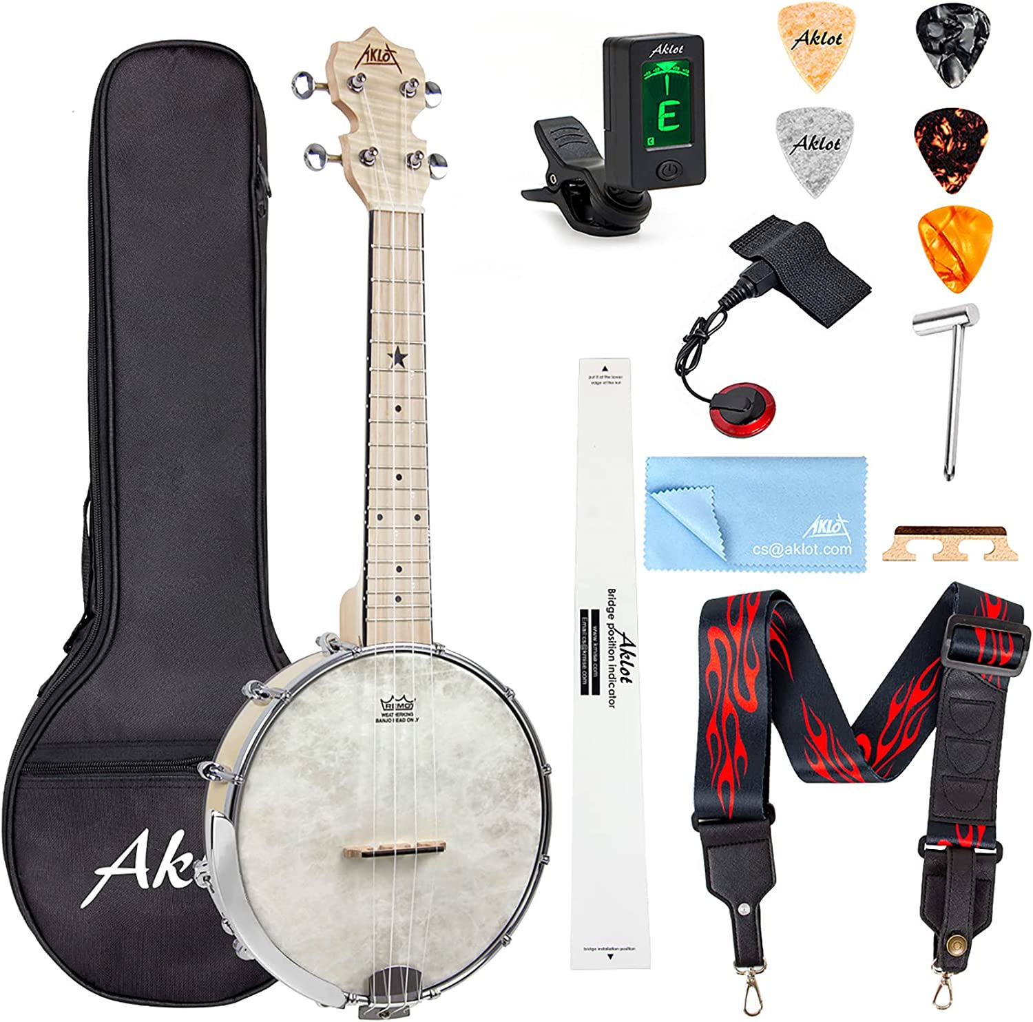 AKLOT Banjo Ukulele Concert 23 inch Remo Drumhead Back Selling and selling Mapl Open Selling rankings