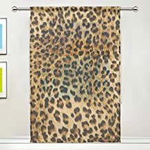 XMCL Window Sheer Curtain Animal Leopard Print Decorative Extra Wide for Living Room Bedroom Kitchen Window Voile Panel 78-84 Inch Long