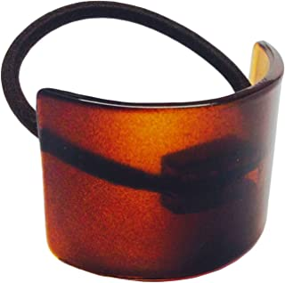 Parcelona France Canopy High Quality Celluloid Tortoise Shell Brown Pony Ponytail Hair Elastic Tie Scrunchies