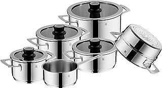 WMF VarioCuisine - Batería de cocina de inducción (6 piezas, acero inoxidable Cromargan, accesorio para vapor, tapa de cristal Silence, termómetro, ollas de inducción, sin revestimiento)