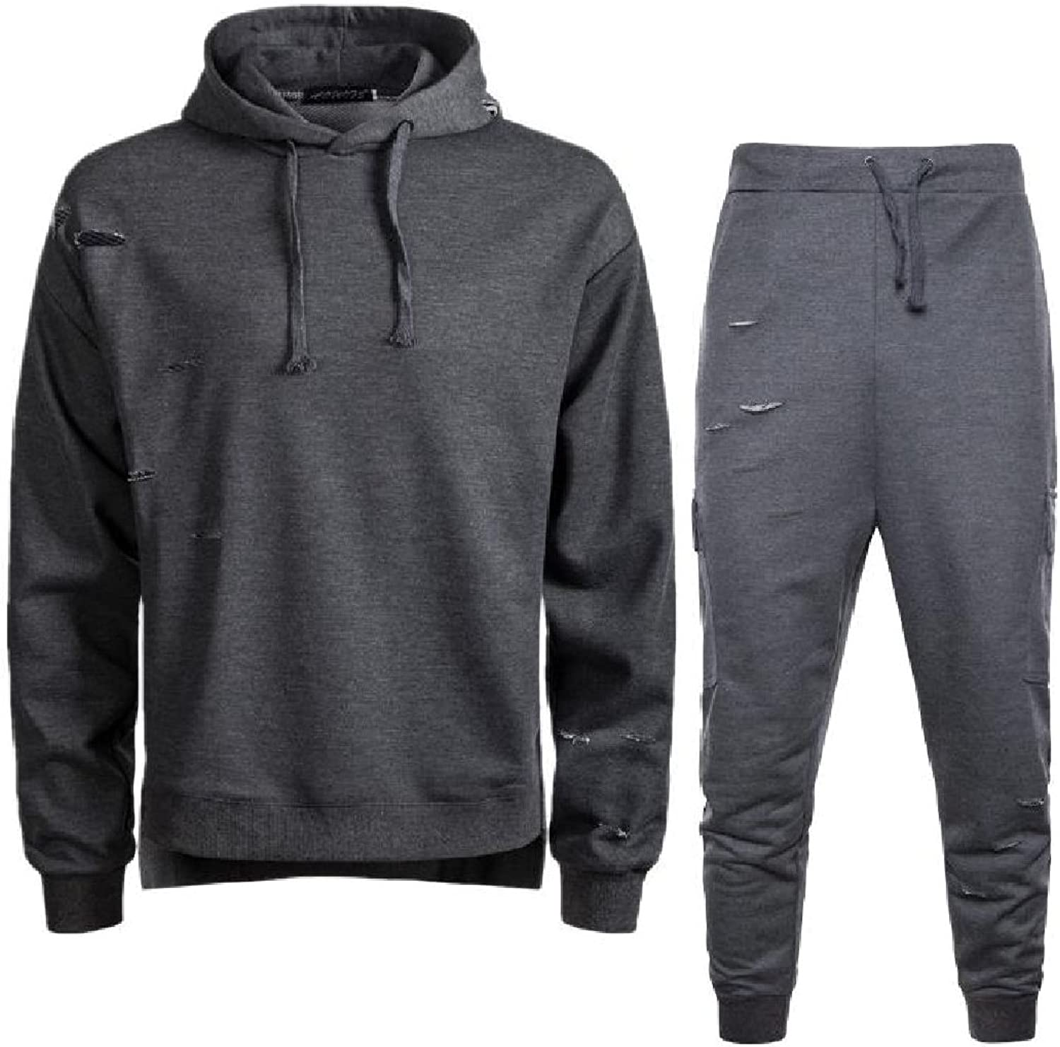 Comaba Men Ripped Distressed Hood Tracksuits Tops Outwear and Pants Outfit