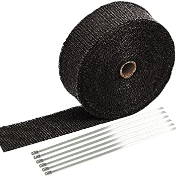 """SunplusTrade 2"""" x 50' Black Exhaust Heat Wrap Roll for Motorcycle Fiberglass Heat Shield Tape with Stainless Ties"""