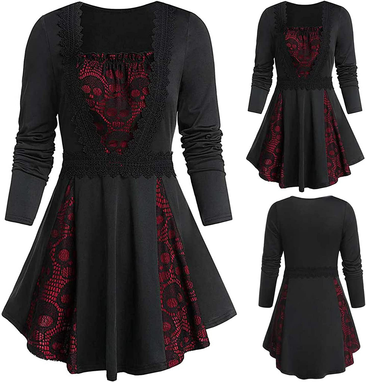 2021 Fashion Dress for Women's Casual Shirt Dress Solid Color Skull Lace Splicing Long Sleeve Gothic Skirt Dress