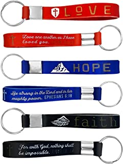 (12 Pack) Christian Keychains with Bible Verses. Faith Hope Love. Bulk Silicone Key Rings for Religious Gift, Party Favor,...