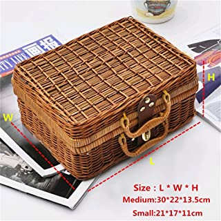 Handmade Wicker Storage Case Travel Picnic Basket Vintage Suitcase Props Box Weave Bamboo Boxes Rattan Organizer by Xiaolanwelc (M)