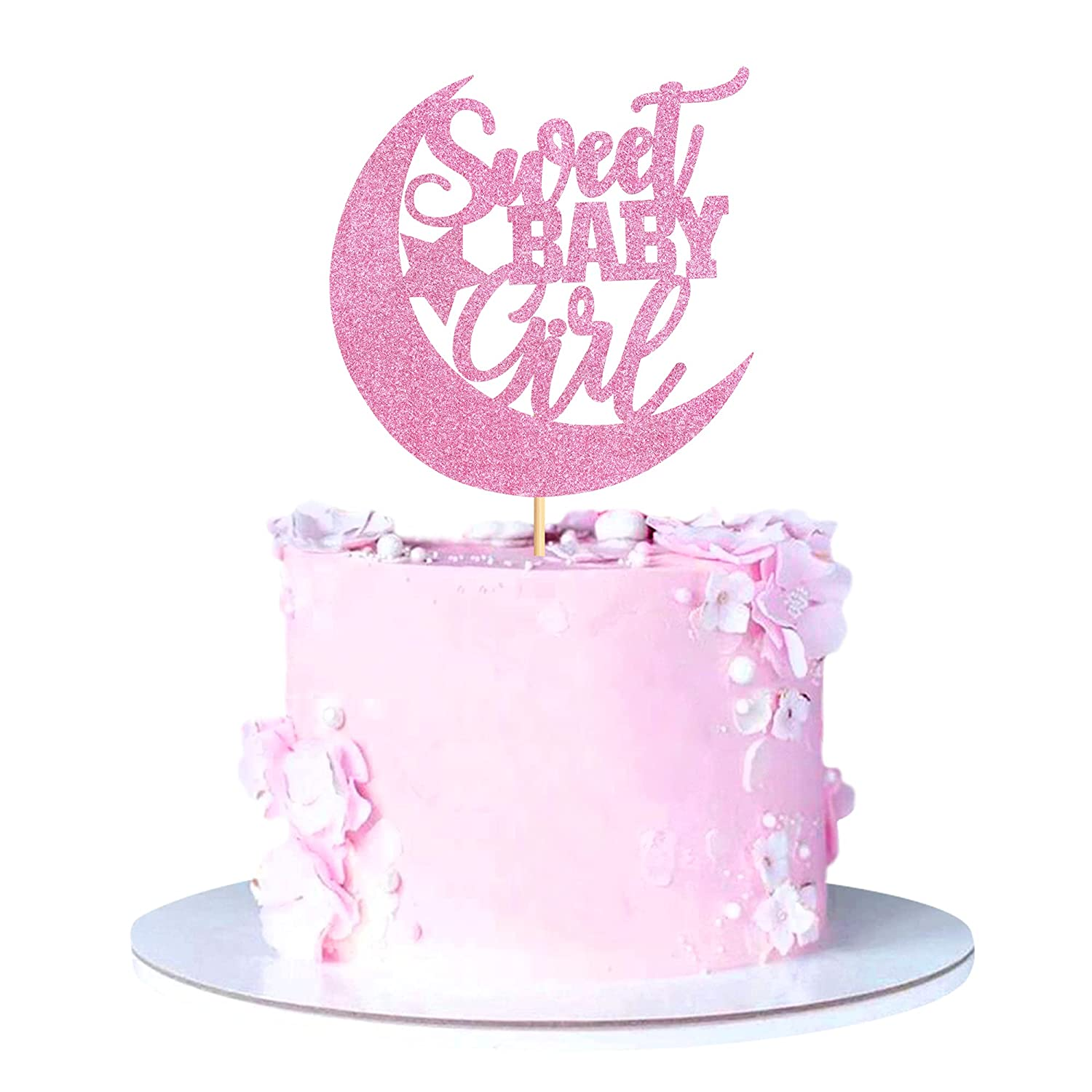 Ercadio 1 Pack Pink A surprise price is realized Memphis Mall Glitter Sweet Topper Girl Cake Moo with Baby