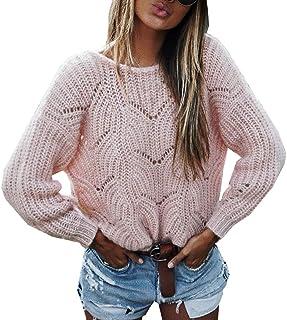 57b266eecf Simple-Fashion Autunno e Inverno Donna Maglieria Giovane Moda Pullover Cime  Jumper Bluse Casual Rotondo