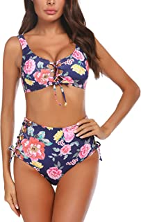 Chigant Womens Two Pieces Bikini Swimsuit High Waisted Floral Print Bikini Sets Sexy Summer Push Up Bathing Suit