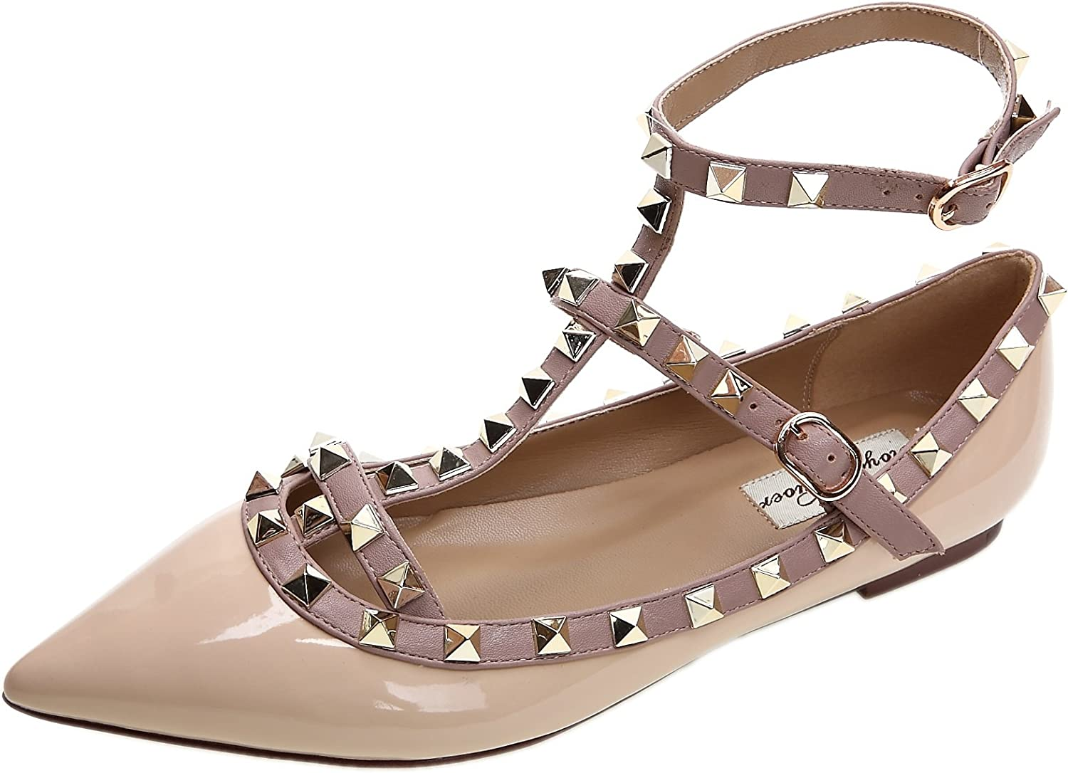 Royou Yiuoer Women's Studded Ballet-Flats Buckle T-Strap Pointed-Toe shoes