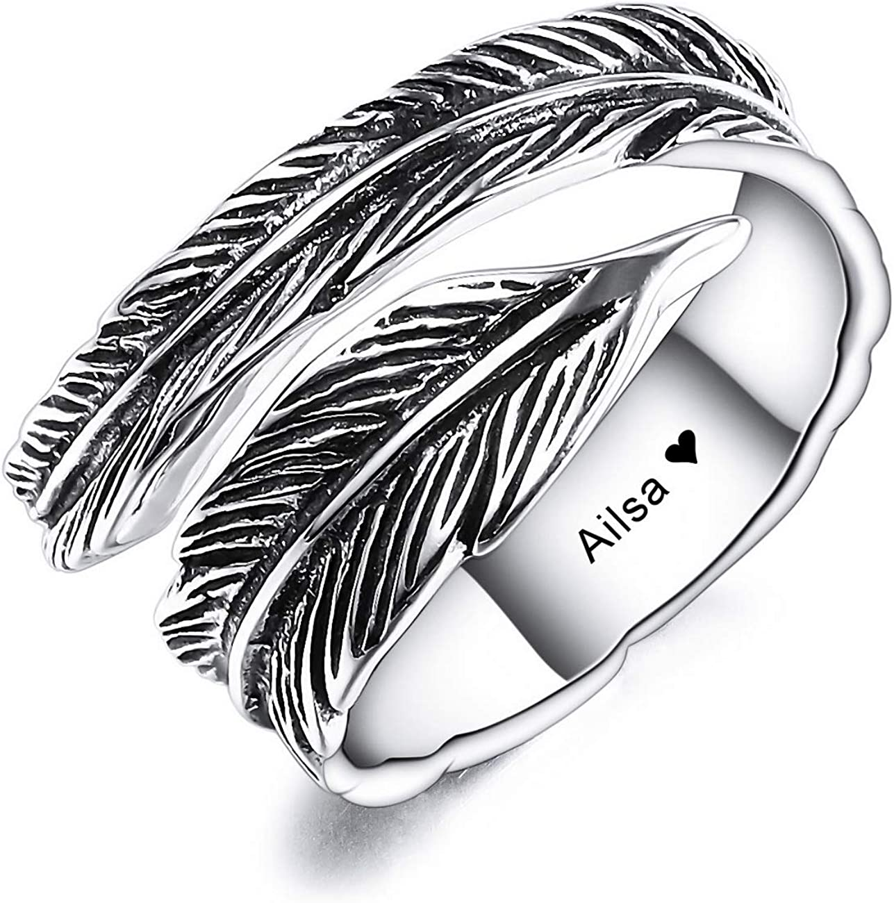 VIBOOS Personalized 925 Sterling Silver Adjustable Feather Ring for Women Men Boys Girls Engraving Name/Date Custom Leaf Open Knuckle Ring Band Lovers Jewelry