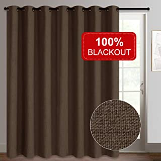 Rose Home Fashion Sliding Door Curtains, Primitive Linen Look 100% Blackout Curtains, Thermal Insulated Patio Door Curtains-1 Panel (100x84 Chocolate)