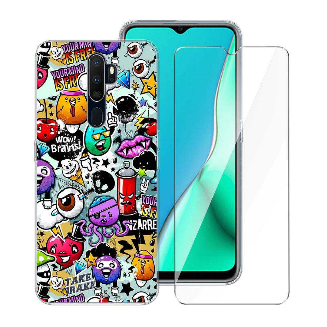 """LJSM Case for Oppo A9 2020 + Tempered Film Glass Screen Protector - Transparent Silicone Soft TPU Cover Shell for Oppo A9 2020 (6.5"""") -XS40"""