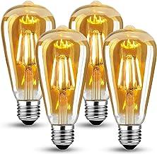 Edison Vintage gloeilamp, Edison LED-lamp warm wit E27 4W ST64 Retro gloeilamp Vintage E27 Led Vintage Ideaal voor nostalg...