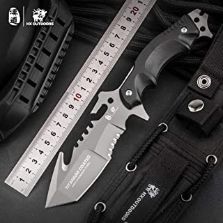HX outdoors - Fixed Blade Tactical Knives with Sheath,Tanto Blade Outdoor Survival Knife,Special Forces Tactical Knife,Ergonomics G10 Anti-skidding Handle