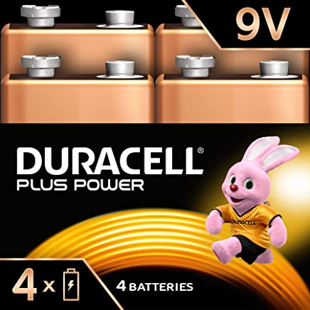 Duracell Plus Power Type 9V Alkaline Batteries, pack of 4