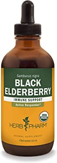 Herb Pharm Certified Organic Black Elderberry Liquid Extract for Immune System Support, Organic Cane Alcohol, 4 Ounce