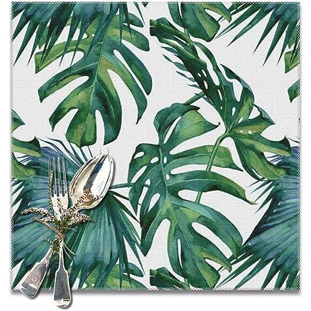 Lot de 6 sets de table en coton avec feuilles de palmier tropicales lavables pour table /à manger et double impression de tissu pour table de cuisine 30,5 x 45,7 cm
