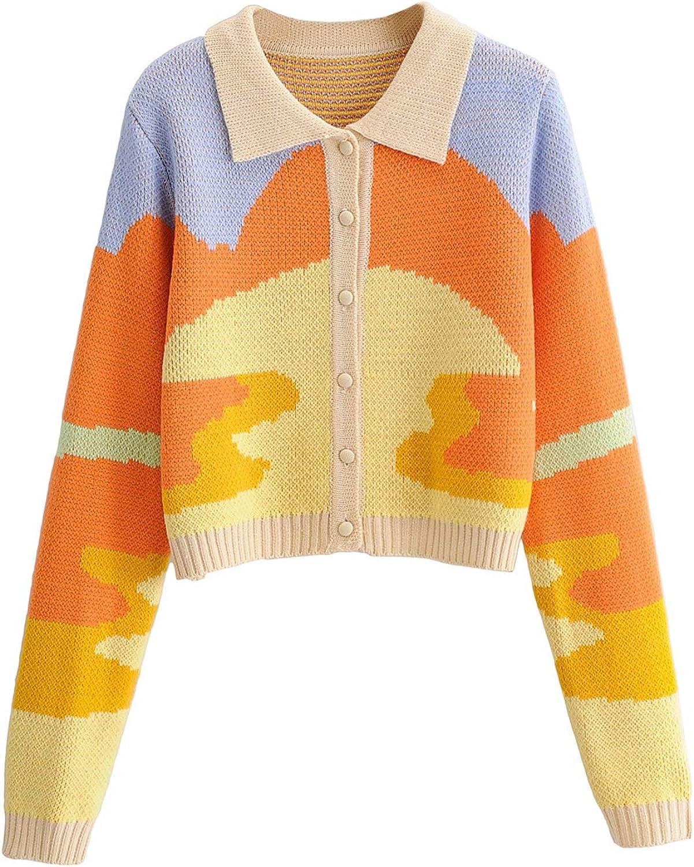Women's Y2K Long Sleeve Lapel Button Down Knit Sweater 90s Vintage Cropped Cardigans Graffiti Letters Slim Coat