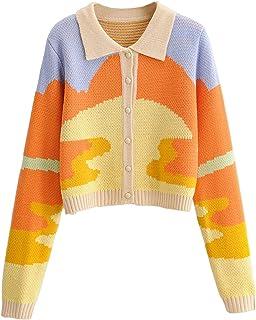 Women Y2K Button Down Casual Knit Sweaters Long Sleeve...