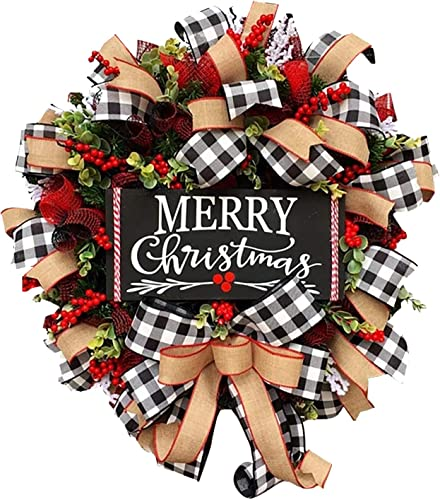 OPTIMISTIC Merry Christmas Wreaths for Front Door, Burlap Bow Knot Handmade Wreath Festival Party Wall Hanging Ornament Winter Holiday Wreaths Decoration Christmas Decorative Wreath, 10/15/18/20Inch