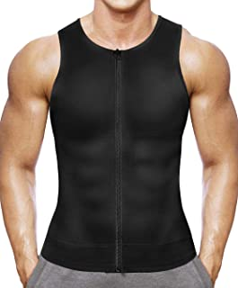 Irisnaya Compression Undershirts for Men Shapewear Slimming Shirt Workout Vest Waist Trainer Body Shaper Zipper Tank Top
