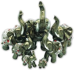 Dusky Seaside Sparrow Feng Shui Conjunto de 7Figuras de Familia de Elefantes estatuas Riqueza Suerte Figuras de decoración para el hogar Regalo BS126