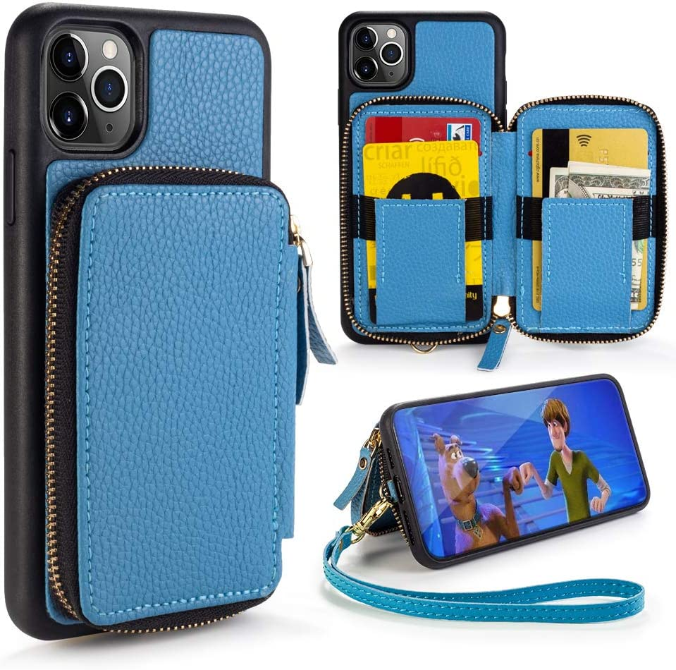 iPhone 11 Pro Max Wallet Case,ZVE iPhone 11 Pro Max Case,Zipper Wallet Case with Credit Card Holder Slot Wrist Strap Handbag Purse Protective Case for Apple iPhone 11 Pro Max 6.5 inch - Haze Blue