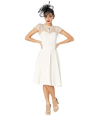 Unique Vintage 1940s Style Swiss Dotted Mesh Heather Midi Dress (Ivory) Women