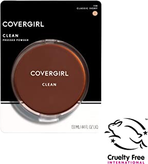 COVERGIRL Clean Pressed Powder Foundation, Classic Ivory 110, 0.44 Fl Oz (1 Count) (Packaging May Vary) Oil & Fragrance Free Lightweight Foundation Powder