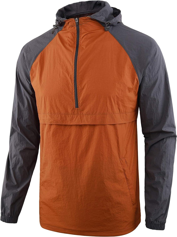 KNQR Men's Lightweight Zip Waterproof Anorak Windbreaker Jackets Active Hoodies