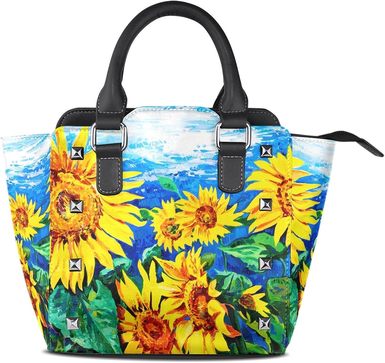 My Little Nest Women's Top Handle Satchel Handbag Oil Painting Yellow Sunflowers Ladies PU Leather Shoulder Bag Crossbody Bag