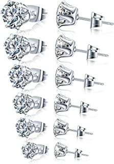 Stainless Steel Stud Earrings Hypoallergenic Cubic Zirconia (6Pairs)
