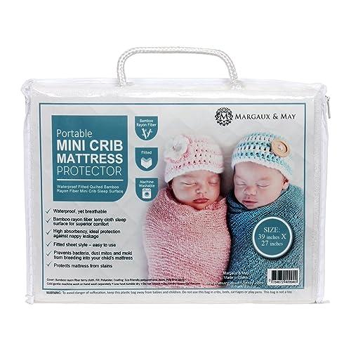 Margaux & May Pack N Play Waterproof Mini Crib Mattress Pad Protector (39 inches X