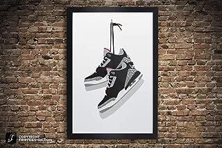 Air Jordan 3 Vintage Hanging Kicks Sneaker Wall Art Illustration in Various Sizes