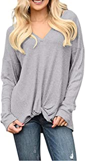 LANRENON Womens Casual Long Sleeve Top Loose Solid V Neck Shirts Knit Twist Knot Pullover Tunic Tops