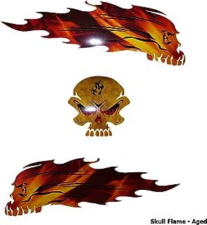 Wild Dingos LLC Flame Ghost Skull Decal Kit Golf Cart, ATV, RC Truck, UTV, Motorcycle, Helmet (Aged)