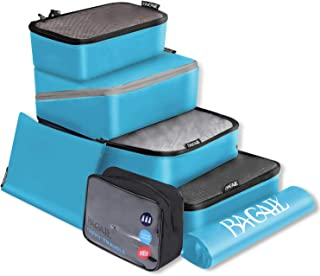 BAGAIL Packing Cubes System 7-Pcs Travel Organizer Accessories for Carry On Luggage with Shoe Bag and Toiletry Bags
